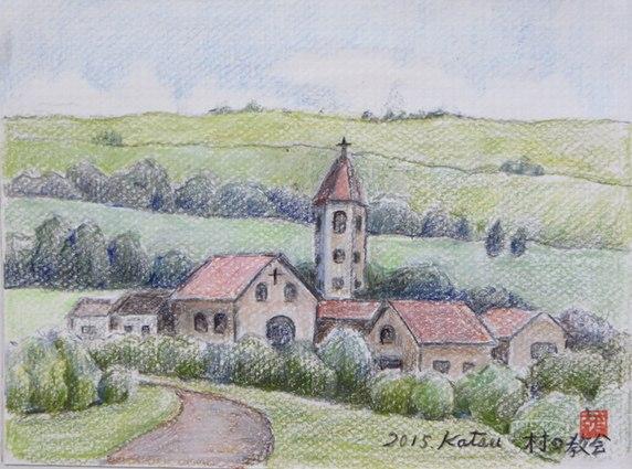 南仏、村の教会ペンシル画_d0042817_1339580.jpg