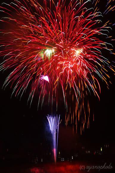 2015年高知鏡川花火大会の打ち上げ花火