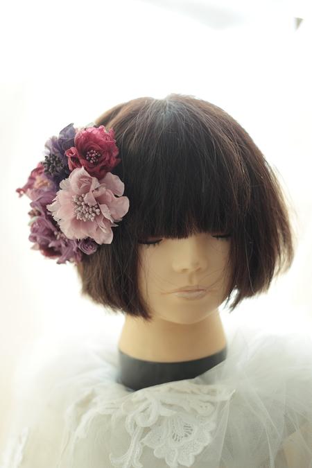 はじめてでも簡単!花の髪飾りの作り方 ヘッドベースを使って 東京堂7階展示のウェディング展示2_a0042928_13492752.jpg