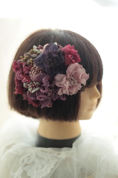 はじめてでも簡単!花の髪飾りの作り方 ヘッドベースを使って 東京堂7階展示のウェディング展示2_a0042928_13494145.jpg