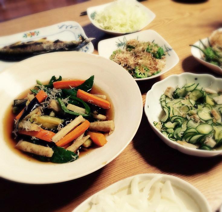 夏野菜の揚げ浸し作りました~_c0357333_22211265.jpg