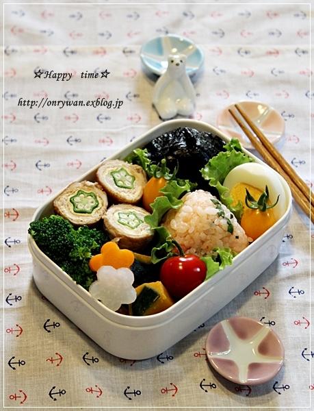 明太子おむすび弁当と2色のゴーヤちゃんぷる~♪_f0348032_18012560.jpg