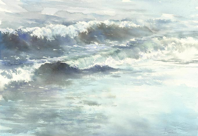 海 水彩画  The Sound of Sea_f0176370_17445228.jpg