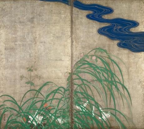 「夏秋草図屏風 ももさへづり」の画像検索結果