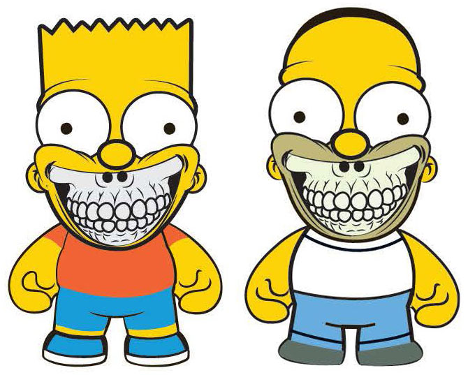 "The Simpsons- 3"" Grin Bart & 3\"" Grin Homer by Ron English_e0118156_1618482.jpg"