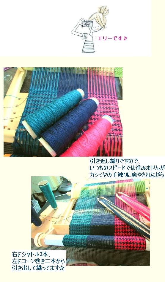 カシミヤ100%で、3色引き返し千鳥格子_c0221884_2312255.jpg