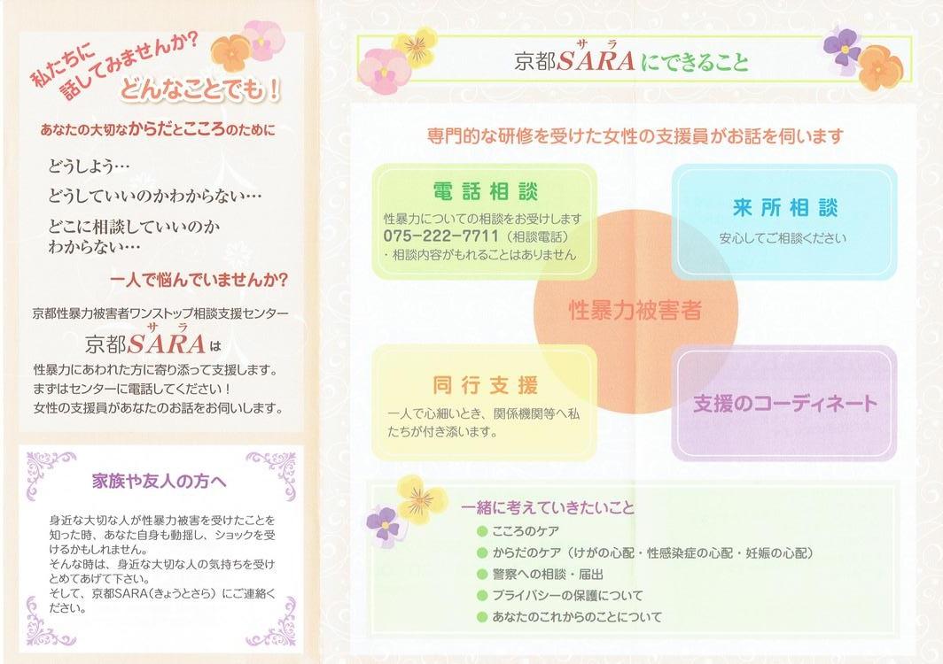 京都SARA(京都性暴力被害者ワンストップ相談支援センター)リーフレットができました。_f0068517_13282680.jpg
