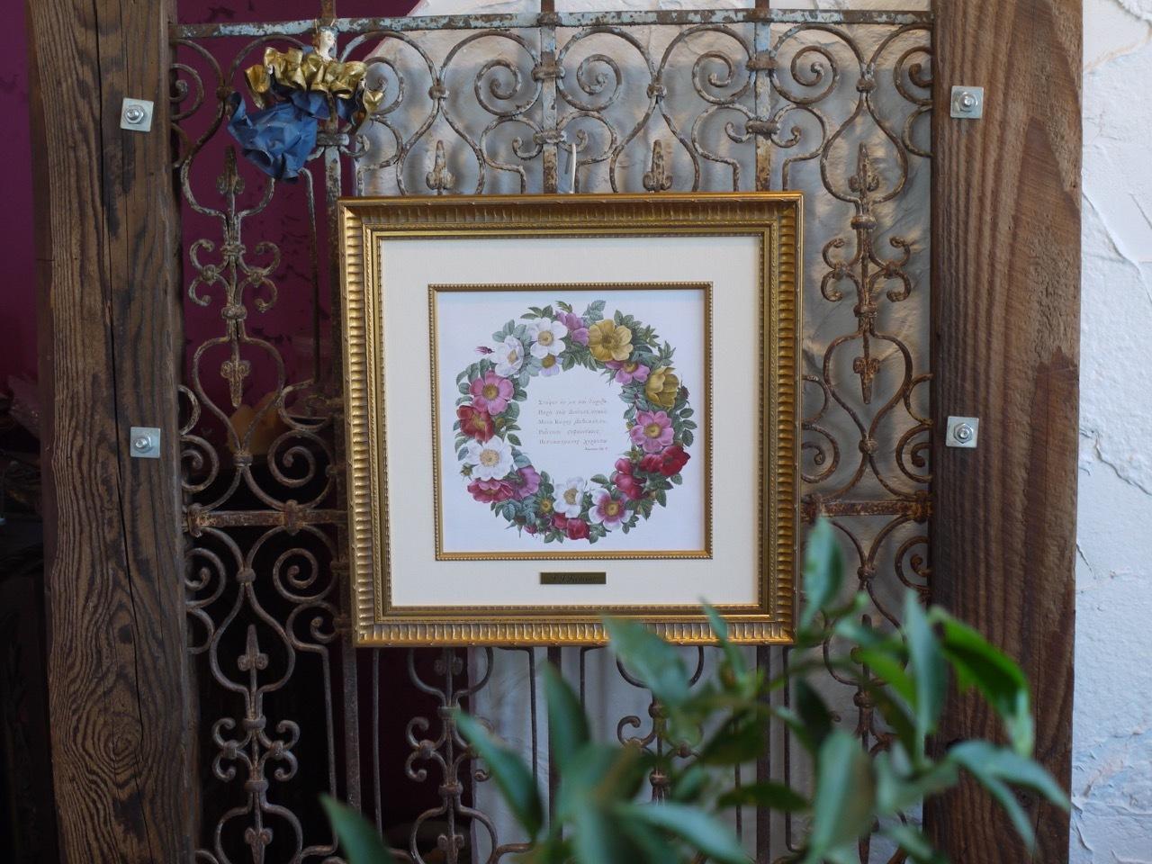 アンティーク・アイアンにルドゥーテの《バラのリース》を掛けてみました!_e0356356_20020877.jpg