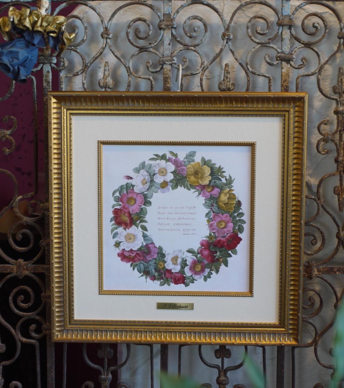 アンティーク・アイアンにルドゥーテの《バラのリース》を掛けてみました!_e0356356_20081980.jpg