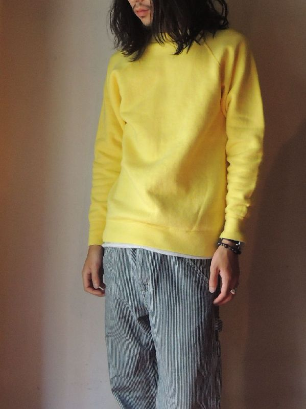 60S~ SOLID SWEAT SHIRT YELLOW--RECOMMEND--_c0176867_15124353.jpg