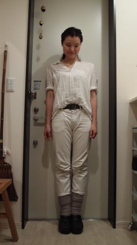 無印良品麻シャツで冷え取りファッション15 8/24_c0342582_23464893.jpg