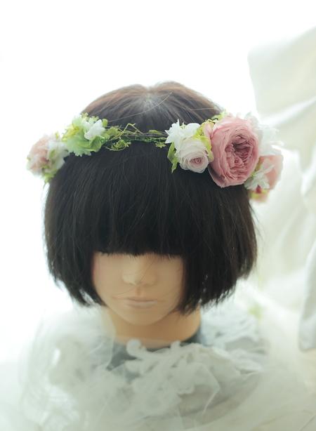 プリザーブドのリストブーケと花冠 軽井沢へ  緑とアンティーク_a0042928_16502239.jpg