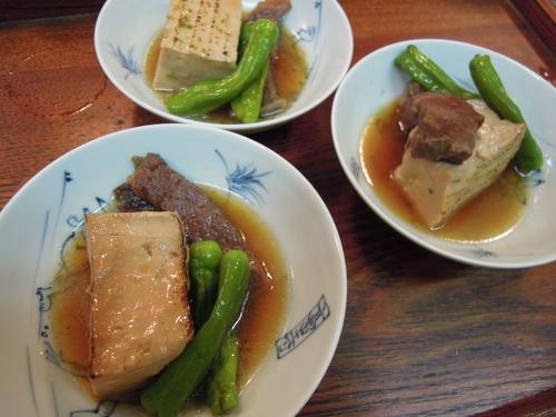 焼き豆腐 牛肉 ししとう すき焼き風_e0116211_11365149.jpg