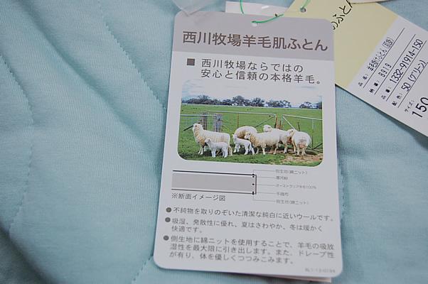 西川牧場羊毛肌ふとん (グリーン)/シングルSL 在庫処分で超お買い得_d0063392_10445042.jpg