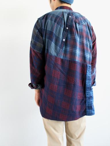 Rebuild By Needles Flannel Shirt → Banded Collar Shirt / Indigo (REMAKE)_b0139281_14101539.jpg