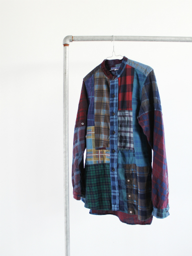 Rebuild By Needles Flannel Shirt → Banded Collar Shirt / Indigo (REMAKE)_b0139281_14102337.jpg