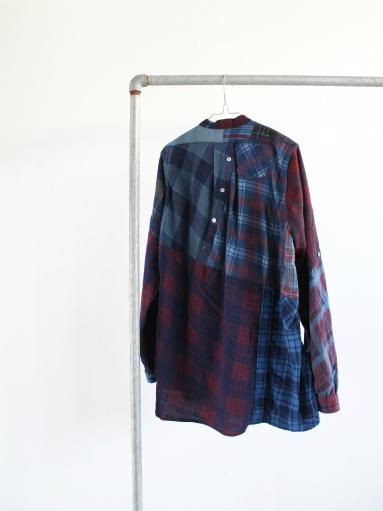 Rebuild By Needles Flannel Shirt → Banded Collar Shirt / Indigo (REMAKE)_b0139281_14103145.jpg