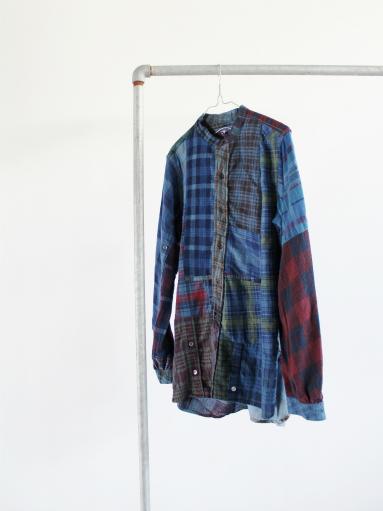Rebuild By Needles Flannel Shirt → Banded Collar Shirt / Indigo (REMAKE)_b0139281_14104724.jpg