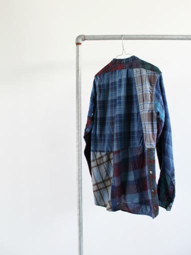Rebuild By Needles Flannel Shirt → Banded Collar Shirt / Indigo (REMAKE)_b0139281_14105661.jpg