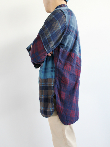 Rebuild By Needles Flannel Shirt → Banded Collar Shirt / Indigo (REMAKE)_b0139281_1410840.jpg