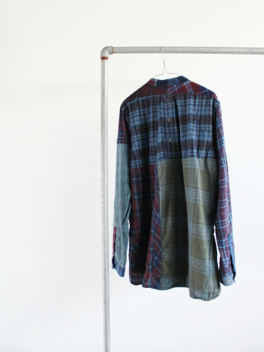Rebuild By Needles Flannel Shirt → Banded Collar Shirt / Indigo (REMAKE)_b0139281_14112513.jpg