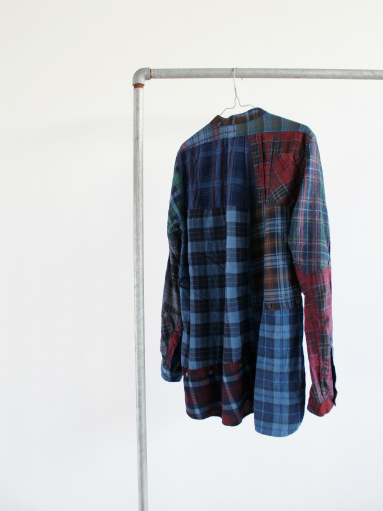 Rebuild By Needles Flannel Shirt → Banded Collar Shirt / Indigo (REMAKE)_b0139281_14115134.jpg