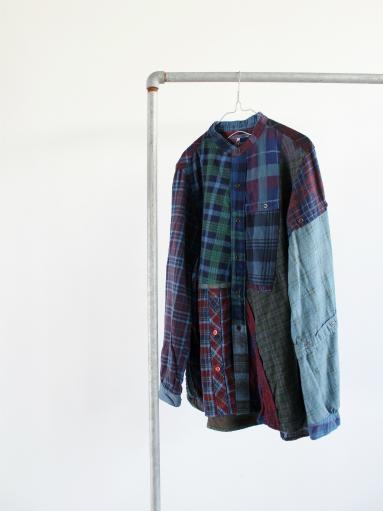 Rebuild By Needles Flannel Shirt → Banded Collar Shirt / Indigo (REMAKE)_b0139281_1411861.jpg