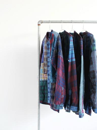 Rebuild By Needles Flannel Shirt → Banded Collar Shirt / Indigo (REMAKE)_b0139281_1454379.jpg
