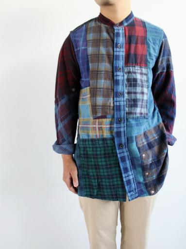 Rebuild By Needles Flannel Shirt → Banded Collar Shirt / Indigo (REMAKE)_b0139281_1455964.jpg