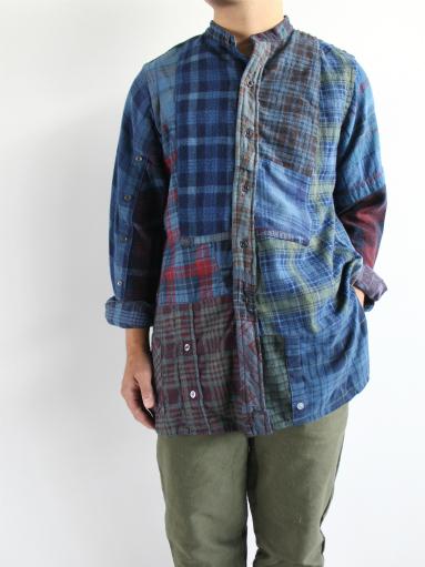 Rebuild By Needles Flannel Shirt → Banded Collar Shirt / Indigo (REMAKE)_b0139281_146485.jpg