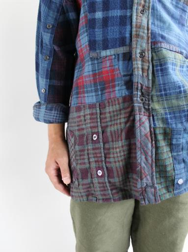 Rebuild By Needles Flannel Shirt → Banded Collar Shirt / Indigo (REMAKE)_b0139281_1481328.jpg