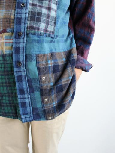 Rebuild By Needles Flannel Shirt → Banded Collar Shirt / Indigo (REMAKE)_b0139281_148519.jpg