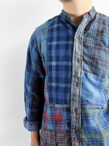 Rebuild By Needles Flannel Shirt → Banded Collar Shirt / Indigo (REMAKE)_b0139281_1558728.jpg