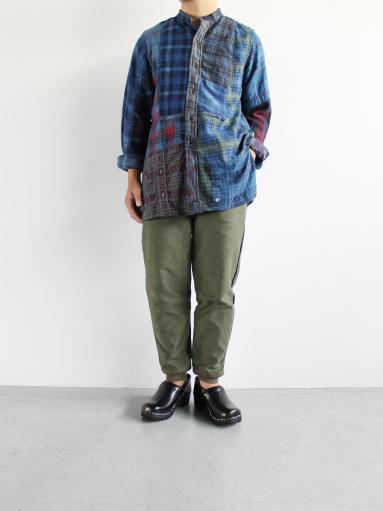 Rebuild By Needles Flannel Shirt → Banded Collar Shirt / Indigo (REMAKE)_b0139281_16263128.jpg