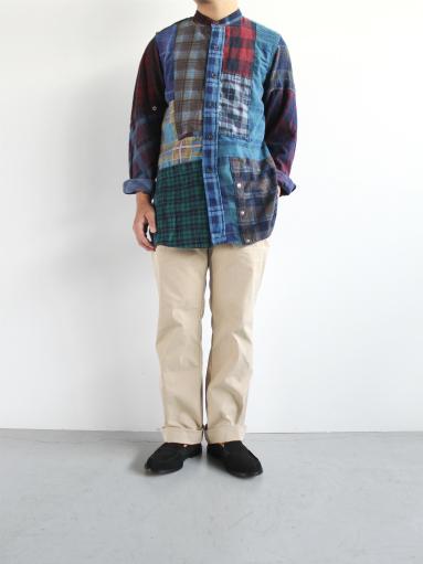 Rebuild By Needles Flannel Shirt → Banded Collar Shirt / Indigo (REMAKE)_b0139281_16264389.jpg