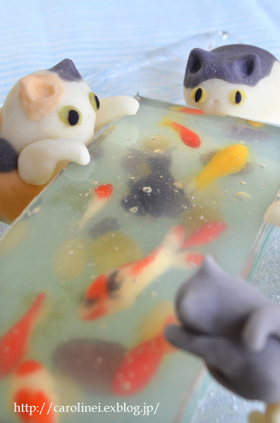 「猫ぐらし」夏号掲載の、夏らしい猫スイーツ Laura\'s Japanese Summer Cat Cakes_d0025294_1724751.jpg