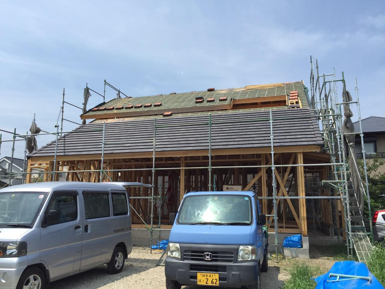 「大屋根の家」進捗状況です。8/28_e0215179_10425025.jpg
