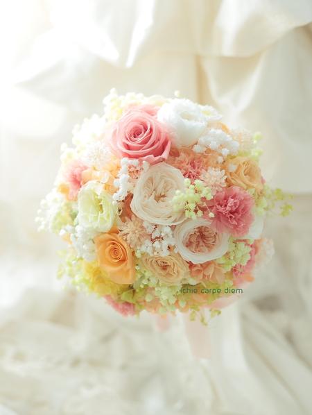 新郎新婦様からのメール プリザーブドブーケ椿山荘さまへ 結婚式は人 10月4日単発レッスンのご案内_a0042928_18355276.jpg