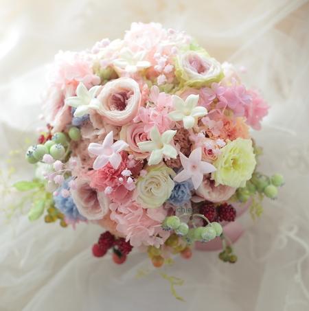 プリザーブドブーケと花冠 軽井沢高原教会さまへ 花嫁の後ろ姿_a0042928_10395572.jpg