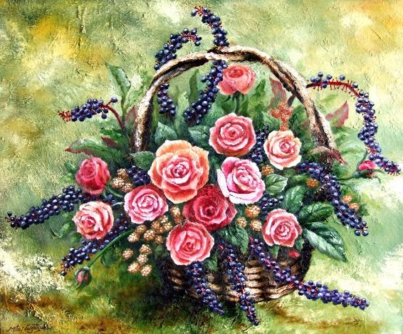 薔薇と洋種ヤマゴボウとベリ-のアレンジの油絵_b0089338_854566.jpg