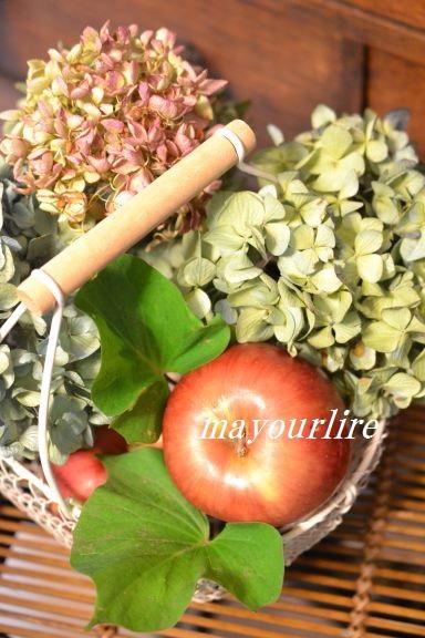 フルーツバスケットに秋色紫陽花_d0169179_11451054.jpg
