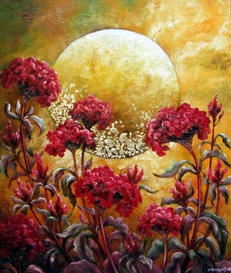 鶏頭草と月の油絵が完成しました。個展スタート!_b0089338_7351540.jpg