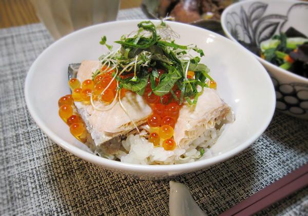 秋鮭の親子丼作りました!_c0357333_13420034.jpg