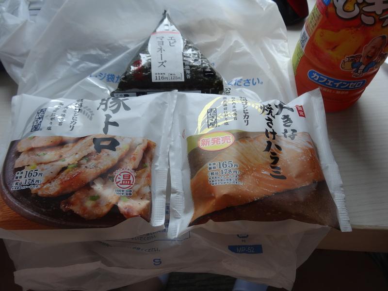 成田駅前のビジネスホテル、この日は朝食無しだったのでコンビニお握りが朝ご飯です。_c0225997_9292725.jpg