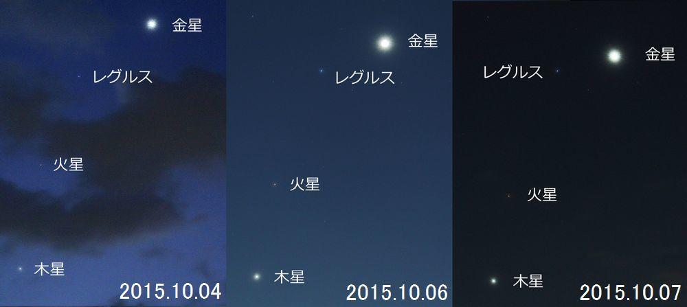 金星・レグルス・火星・木星カルテット(2015年10月7日)_e0089232_06160309.jpg
