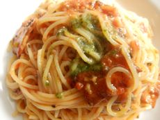 10/14本日パスタ:厚切りベーコンのオリーブトマトソース・スパゲティ_a0116684_1251611.jpg