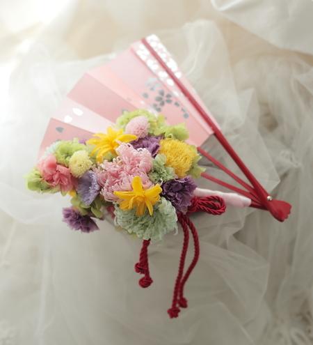 ネットDEガレージセール2 プリザーブドの扇子ブーケ(桜柄)と、白のリングピロー_a0042928_1273578.jpg