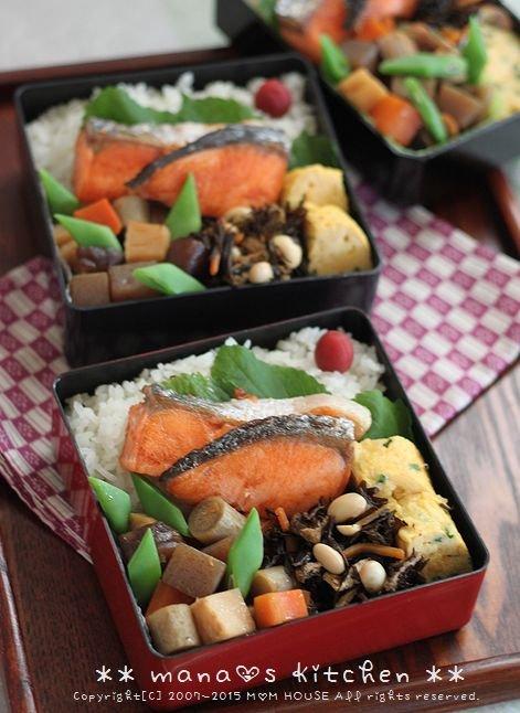 焼き鮭と常備菜弁当 ✿ ちんぬくじゅーしぃ♪_c0139375_11135251.jpg