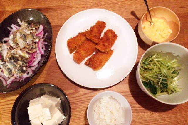 夫が作った晩ごはん:太刀魚のフライ_d0339885_12553554.jpg
