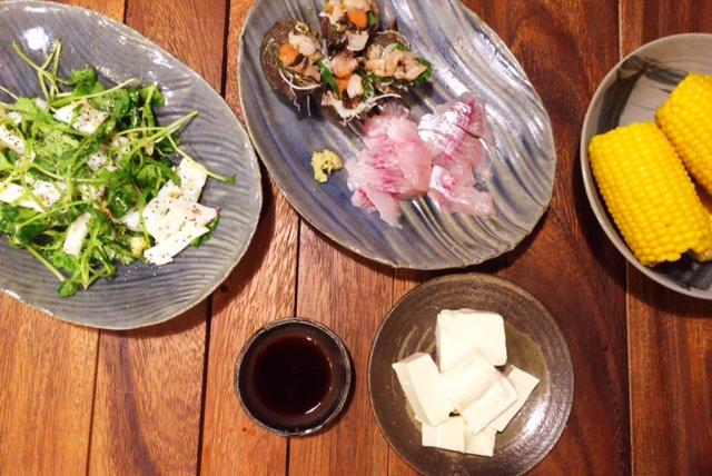 夫が作った晩ごはん:イカとつまみ菜の炒め物_d0339885_12553573.jpg